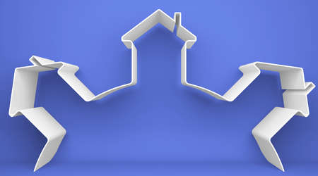 three dimensional shape: Symbolic houses on the blue background Stock Photo