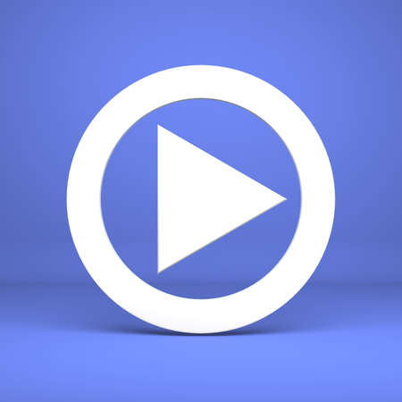 Button of play on a blue background photo