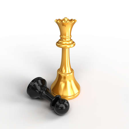 Chess. Conception of victory. Isolated chess figures Stock Photo