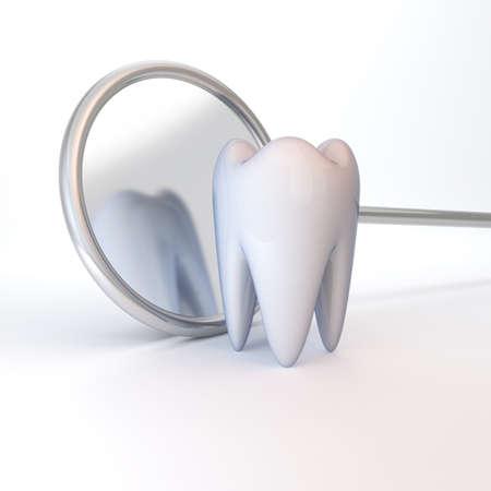 White tooth on a white background. Stomatology