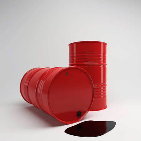 Two red barrels with oil