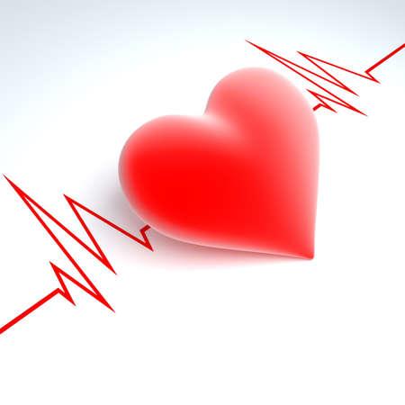 enfermedades del corazon: Corazón rojo sobre un fondo a cardiogram Foto de archivo