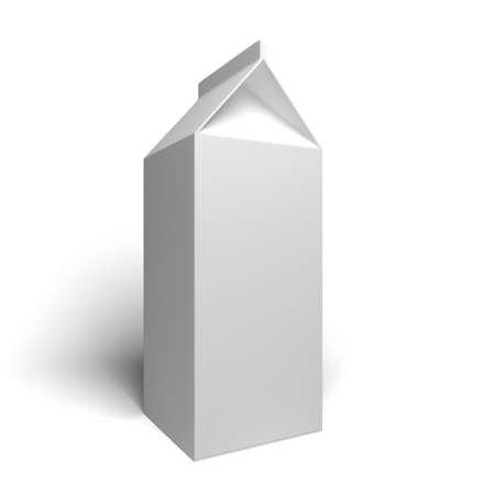 carton: White blank milk box on a white surface