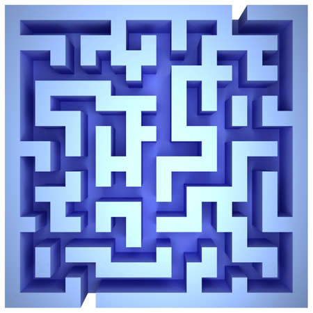 A maze of blue walls. Top view Stock Photo