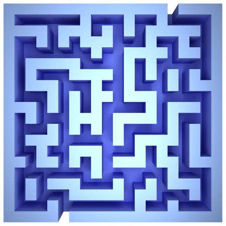 A maze of blue walls. Top view Standard-Bild