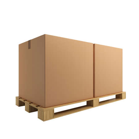 Two cardboard boxes on pallet Stock Photo - 9029808