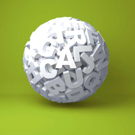 Ball from letters on an green background Stock Photo
