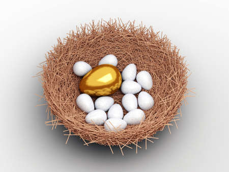 Unique gold egg among ordinary eggs in the nest of bird photo