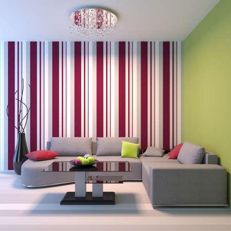 Living room. Angular sofa, dinner-wagon, chandelier, vase. Stock Photo - 9029831