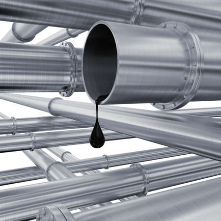 Oil pipeline. The drop of oil follows from a pipe