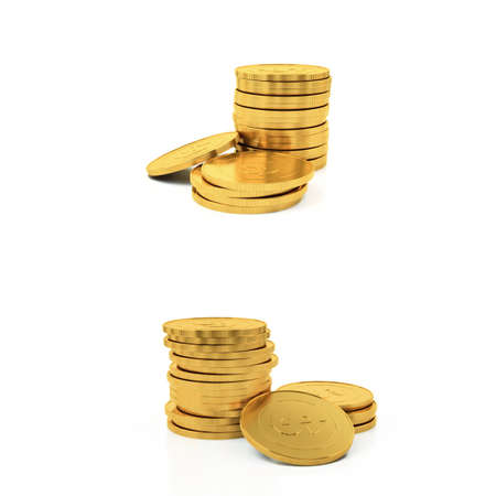 rouleau: Golden coins isolated on a white background