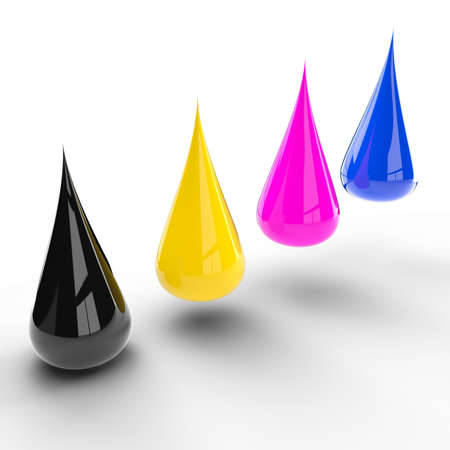 inkjet: Drops of paint. Colour palette of cmyk