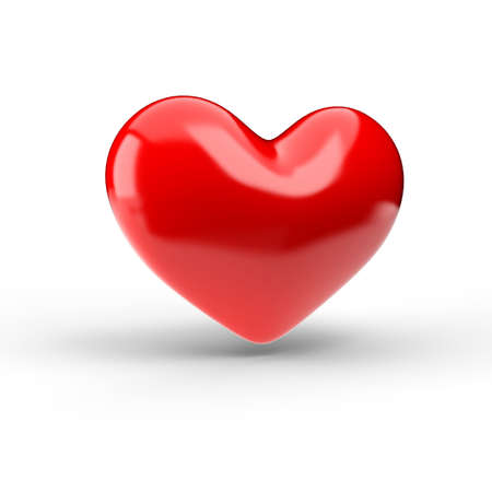Red heart over white. 3d render illustration Stock Photo
