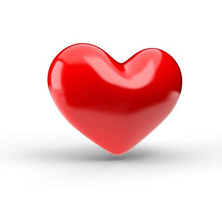 Red heart over white. 3d render illustration Standard-Bild