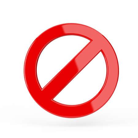 Red forbidden sign. 3d render illustration