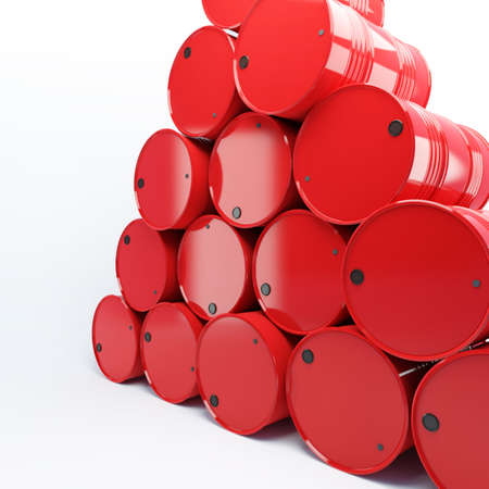 fuel storage tank: heap from barrels with oil on a white background