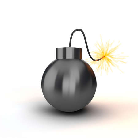 Black bomb with an alight cord on a white background photo