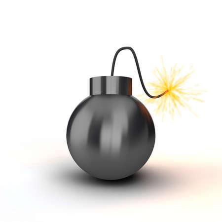 alight: Bomba nera con un cavo di scendere su sfondo bianco