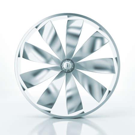 turbo: Metallic cooler on a white background Stock Photo