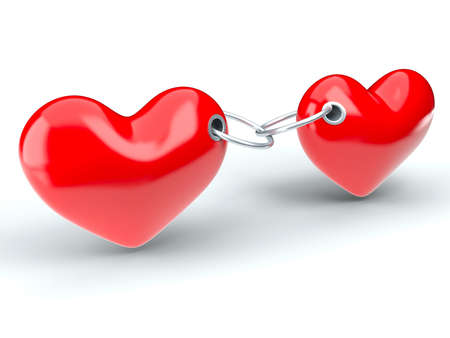 Two red hearts constrained a metallic chain photo