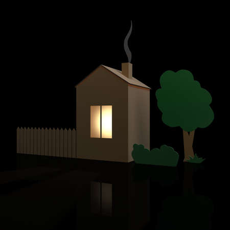 Cardboard house, fence and tree on a dark background photo