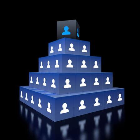 piramide humana: Concepto de jerarquía. visualización en 3D