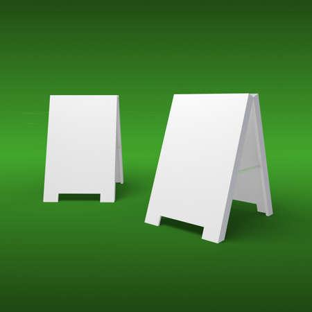 sidewalk cafe: Blank sandwich board on a green background