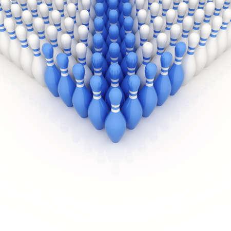 Blue bowling pins as a pointer. 3d illustration Фото со стока