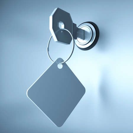 Key in the keyhole. 3d render Stock Photo - 10765286