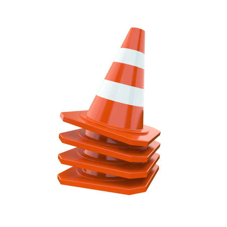 Orange traffic cones isolated on a white background