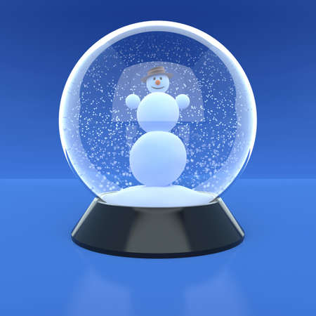 Snowman in a glass ball in snow weather