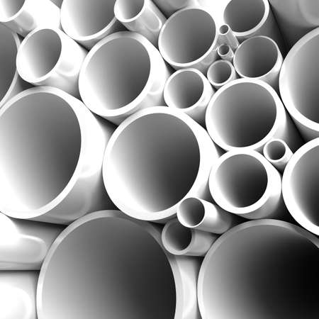 aguas residuales: Gran cantidad de tubos de acero plegada Foto de archivo