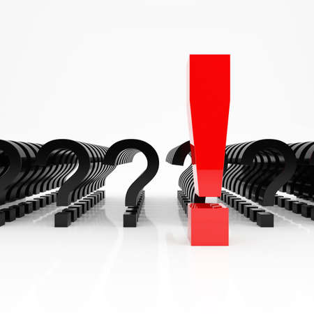 think big: Large red exclamation mark on a background the little notes of interrogation Stock Photo