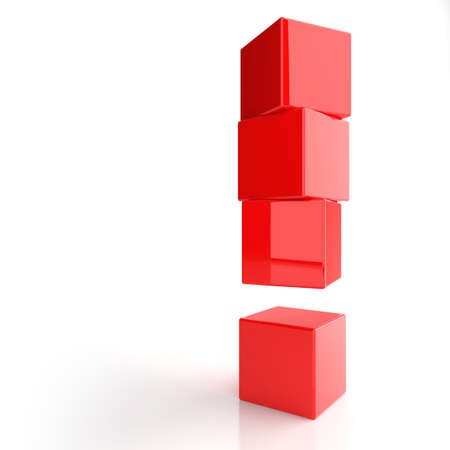 exclamation sign: Exclamation mark from red boxes