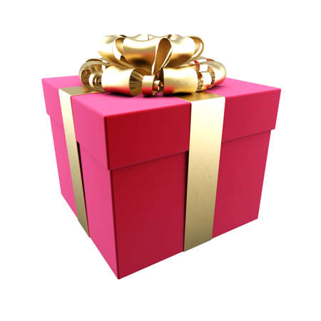 A box with a gift is wrapped around a gold ribbon photo