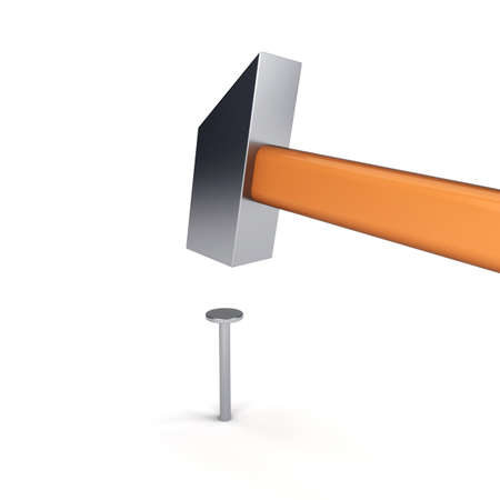 clout: Shiny hammer hitting the nail Stock Photo