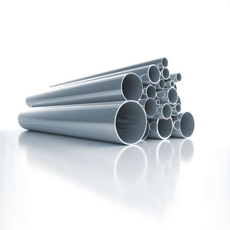 caños de agua: Lote de tubos de acero doblados