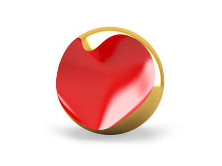 Red heart into a gold ball. Abstraction photo