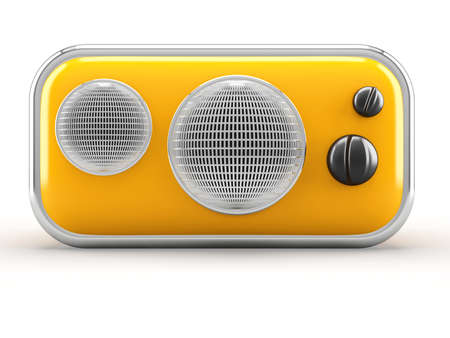 Retro radio on white background. Front Stock Photo