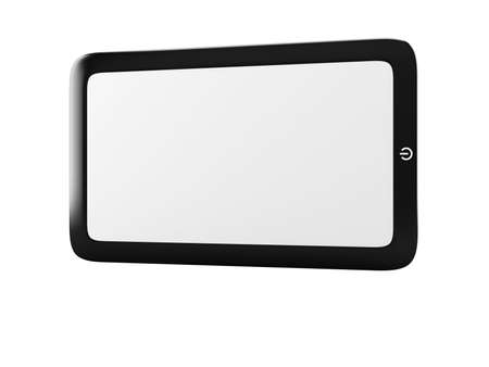 Touch screen tablet pc with blank screen isolated on white. Horizontal photo