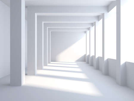 Empty wide room with columns. 3d photo