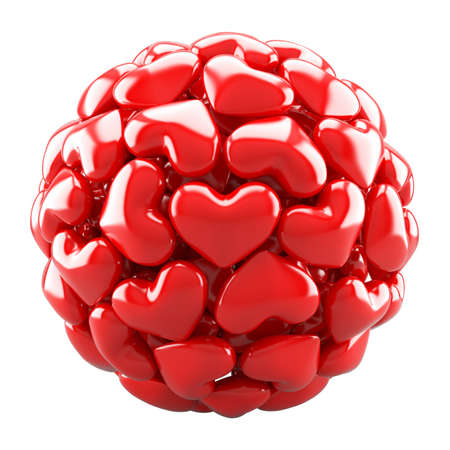 heterosexuality: Ball from red hearts isolated on white Stock Photo