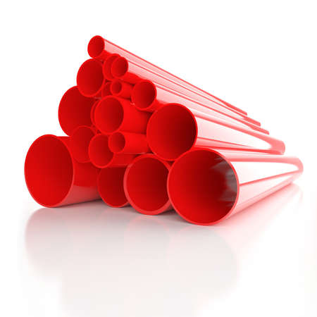 Lot of folded red plastic pipes photo