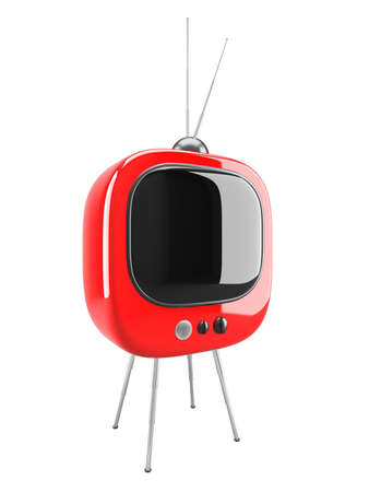 Red retro TV isolated on white Stock Photo - 11154664