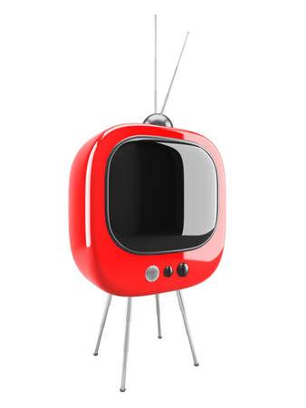 Red retro TV isolated on white Stock Photo - 11154664