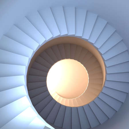 Spiral stair. 3d render of abstract interior Фото со стока