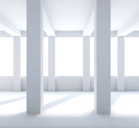 Abstract interior. Empty room with columns