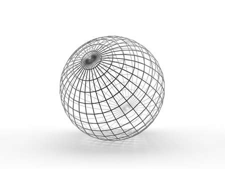wire mesh: Sphere. Thin wireframe. Conception of globe Stock Photo