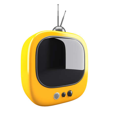 Yellow retro TV isolated on white