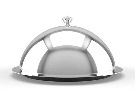 serving tray: Restaurant cloche on white background